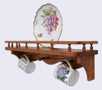 Picture of a Decorative Wall Mounted Shelf, Modern Style with gallery rail and 3 mug pegs, Oak Wood, 24 inches