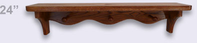 Wooden wall shelf, Modern Style with 3 shaker pegs, 24 inches