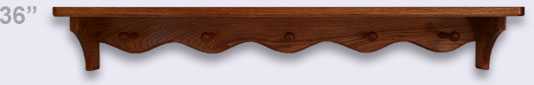 Wooden wall shelf, Modern Style with 5 shaker pegs, 36 inches