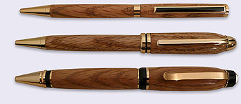 Picture of the Three Solid Oak Wood Pens