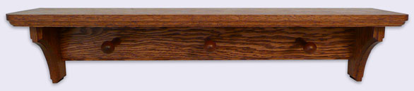 Oak Wood Wall Shelf, Country Style with 3 Shaker Pegs, 24 inches