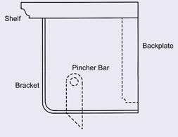 Cross section drawing of the wooden wall mounted quilt hanger with shelf showing pincher bar