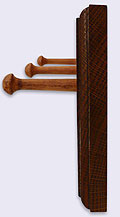 Picture of the side of a Solid Oak Wood Coat Rack / Hanger with routed edges