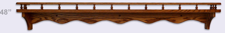 Wood wall shelf, Modern Style with gallery rail, 48 inches