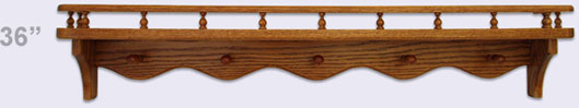 Wooden wall shelf, Modern Style with gallery rail and 5 mug pegs, 36 inches