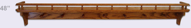 Wooden wall shelf, Country Style with gallery rail and 7 mug pegs, 48 inches
